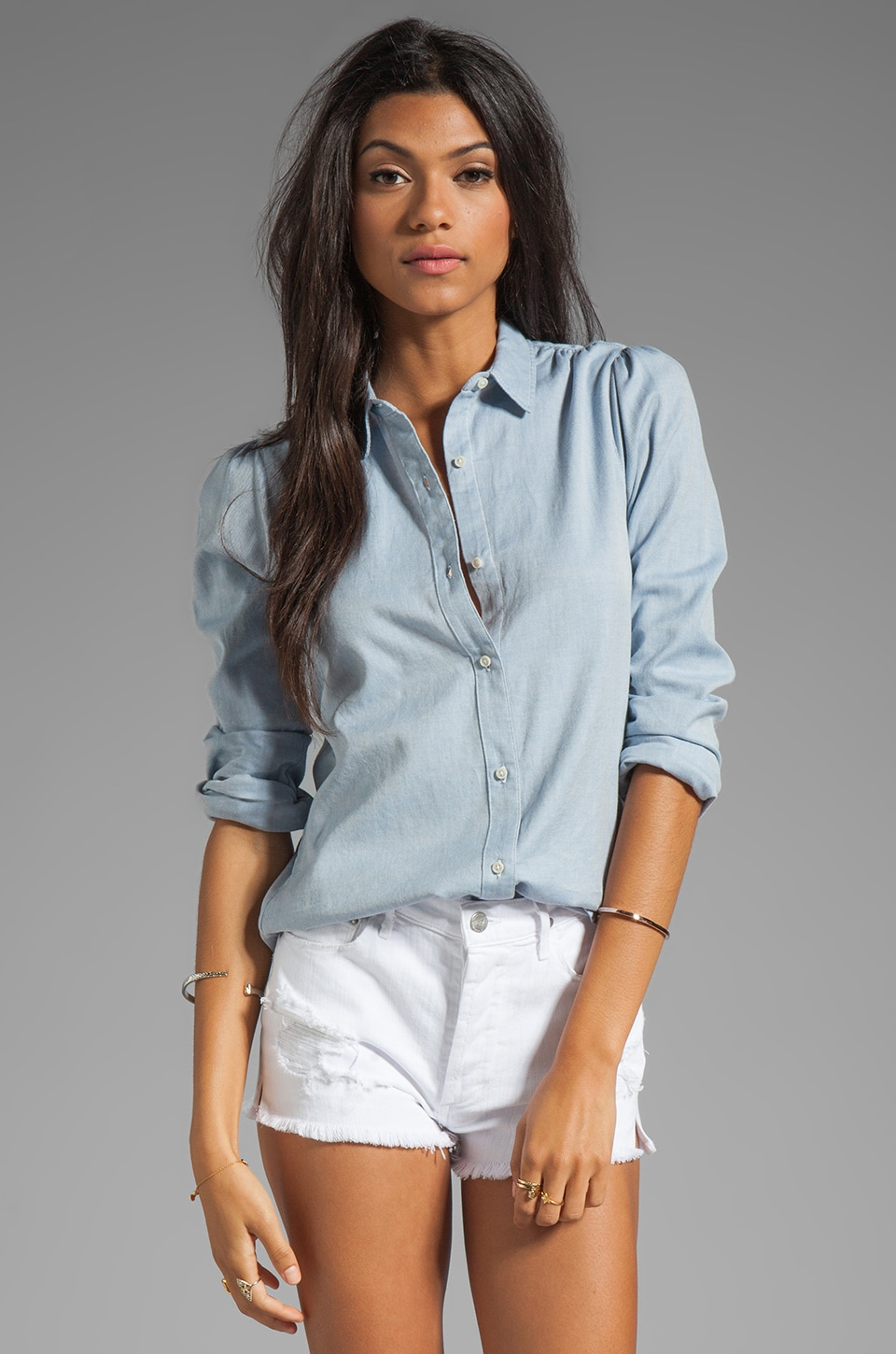 Joe's Jeans Dandy Woven Twill Button Down Shirt in Powder Blue