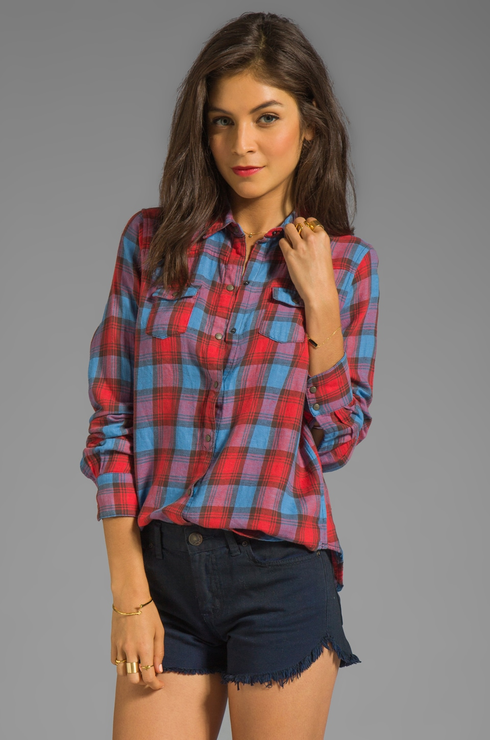Joe's Jeans Plaid Button Down Shirt in Crimson