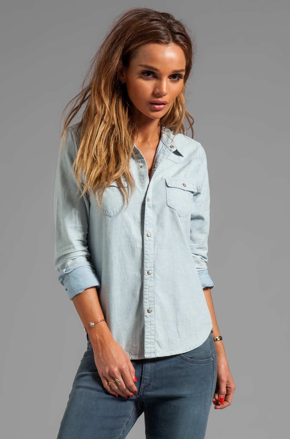 Joe's Jeans Bleached Out Stripe Western Shirt in Indigo