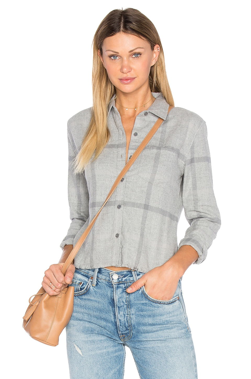Joe's Jeans Carlie Crop Shirt in Heather Grey
