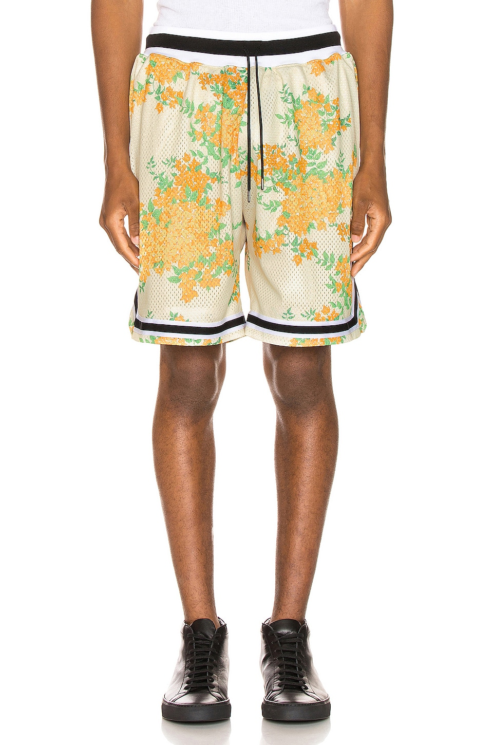 JOHN ELLIOTT Basketball Shorts in Ivory Bougainvillea
