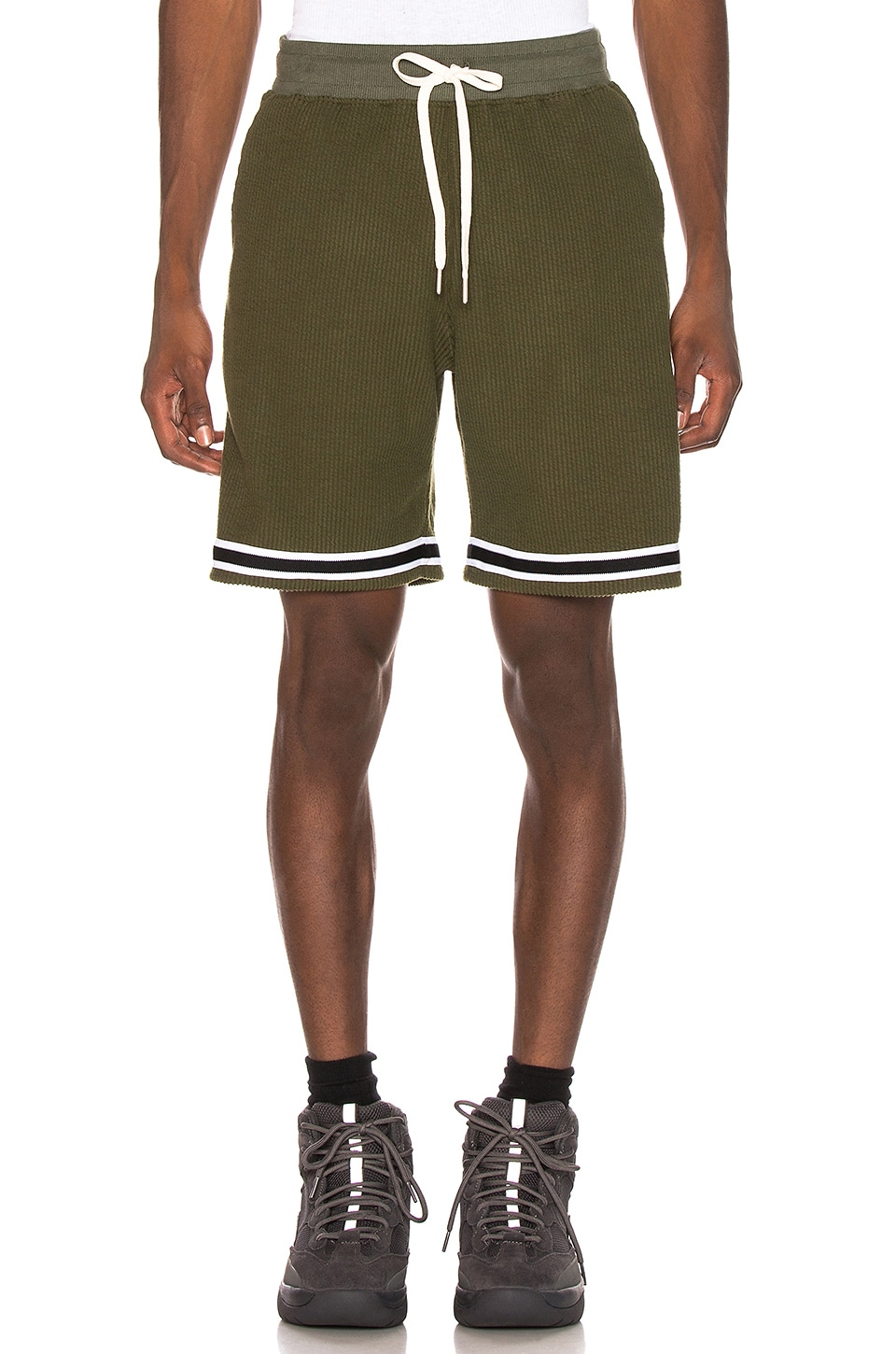JOHN ELLIOTT Corduroy Knit Short in Olive