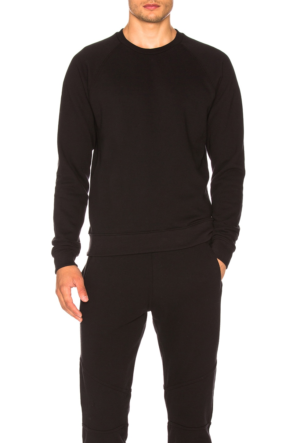 JOHN ELLIOTT Raglan Crew in Black