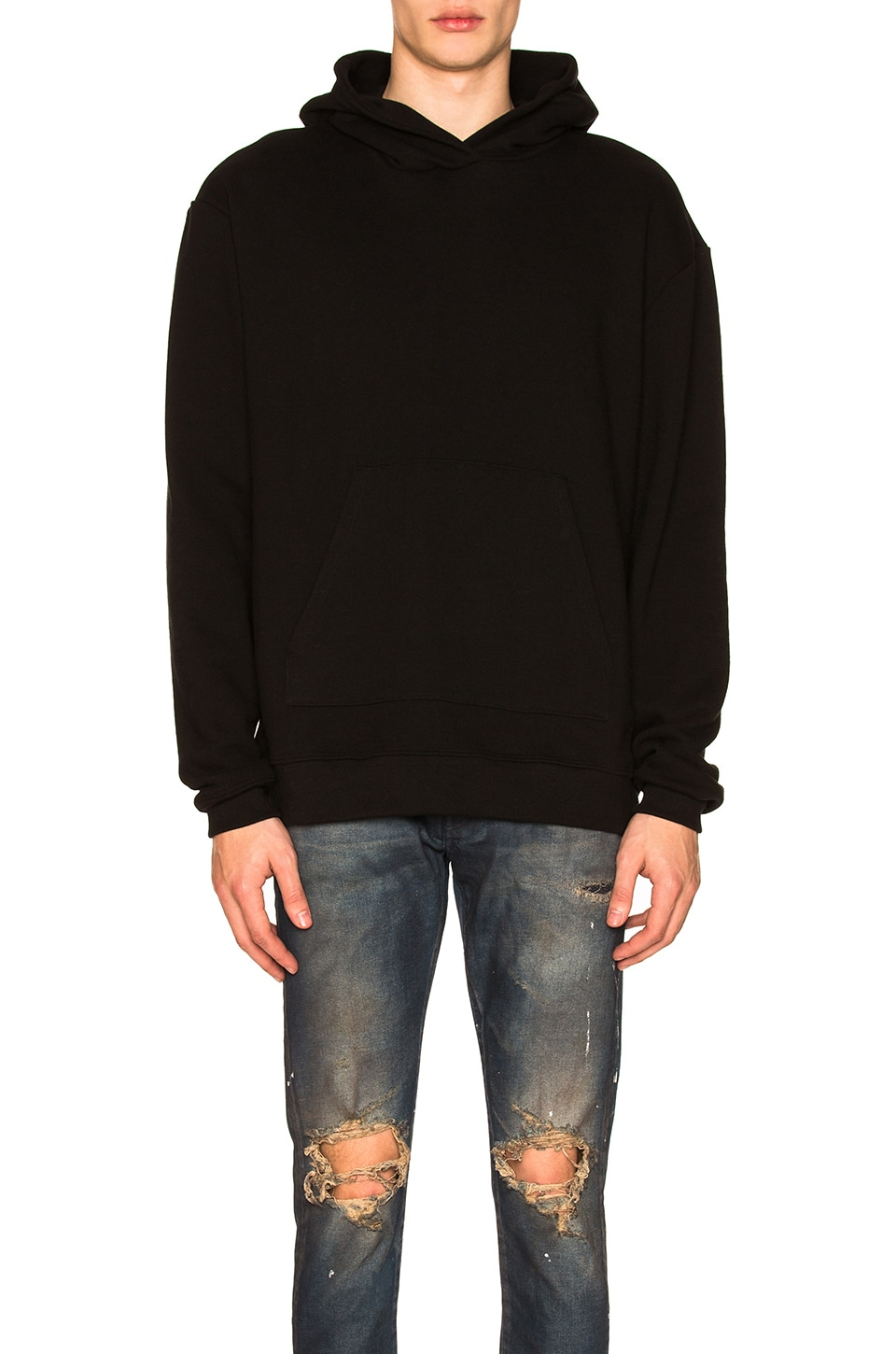 JOHN ELLIOTT Oversized Cropped Hoodie in Black