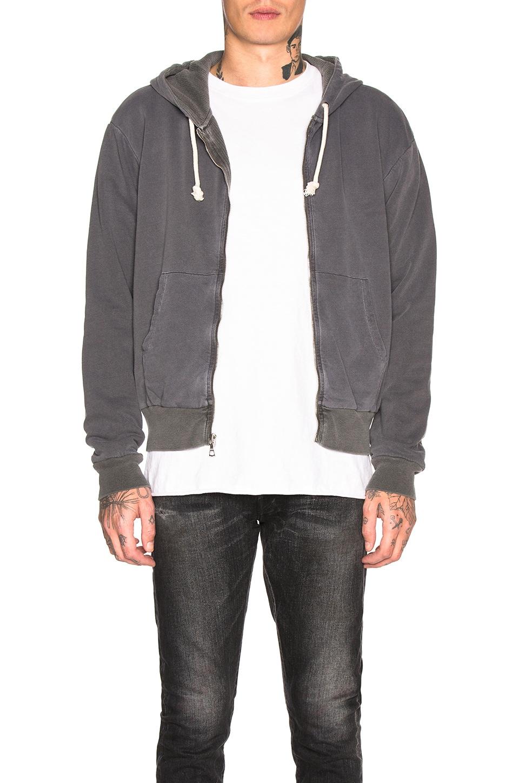 JOHN ELLIOTT Thermal Lined Full Zip Hoodie in Vintage Black