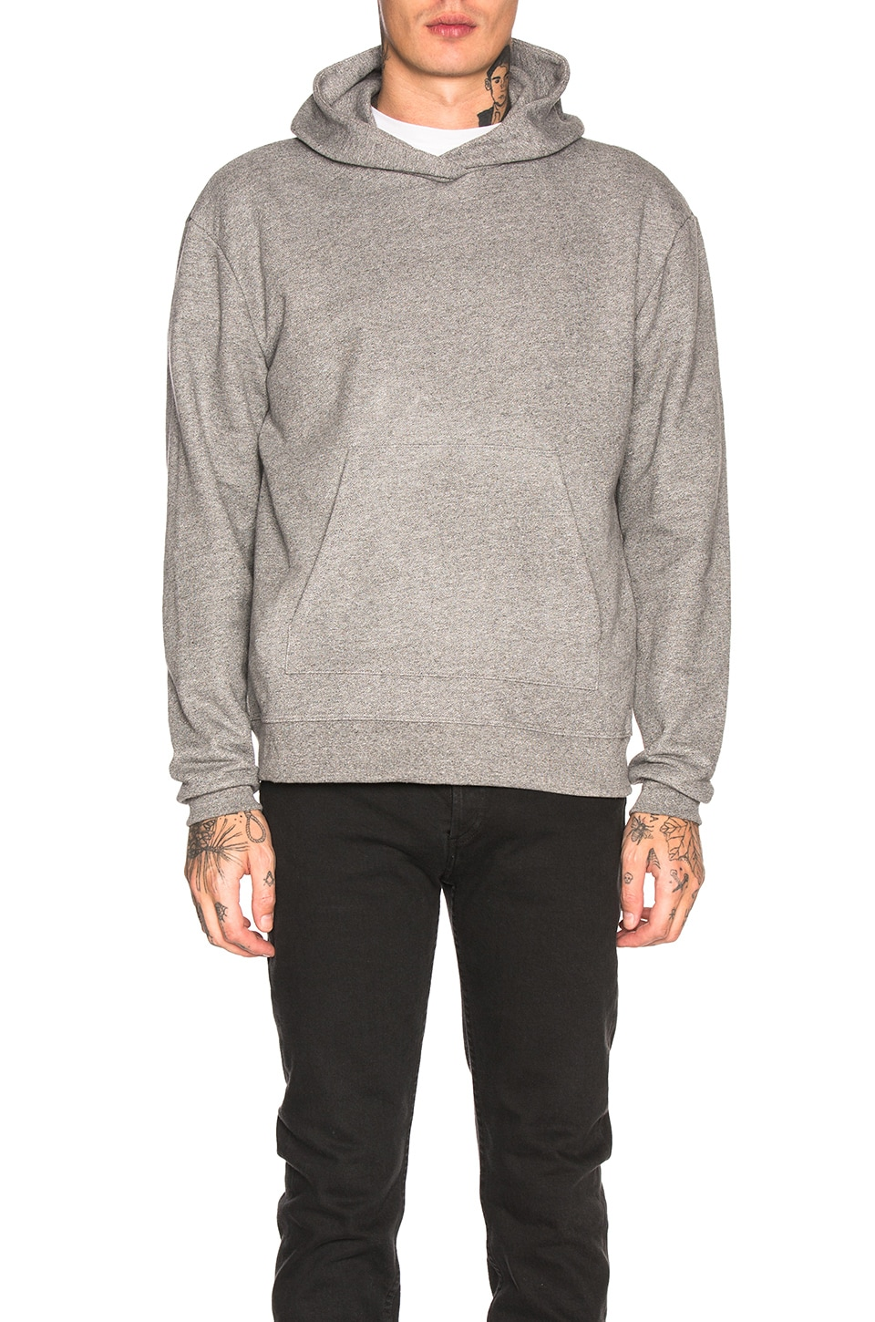 JOHN ELLIOTT Oversized Crewneck Hoodie in Dark Grey