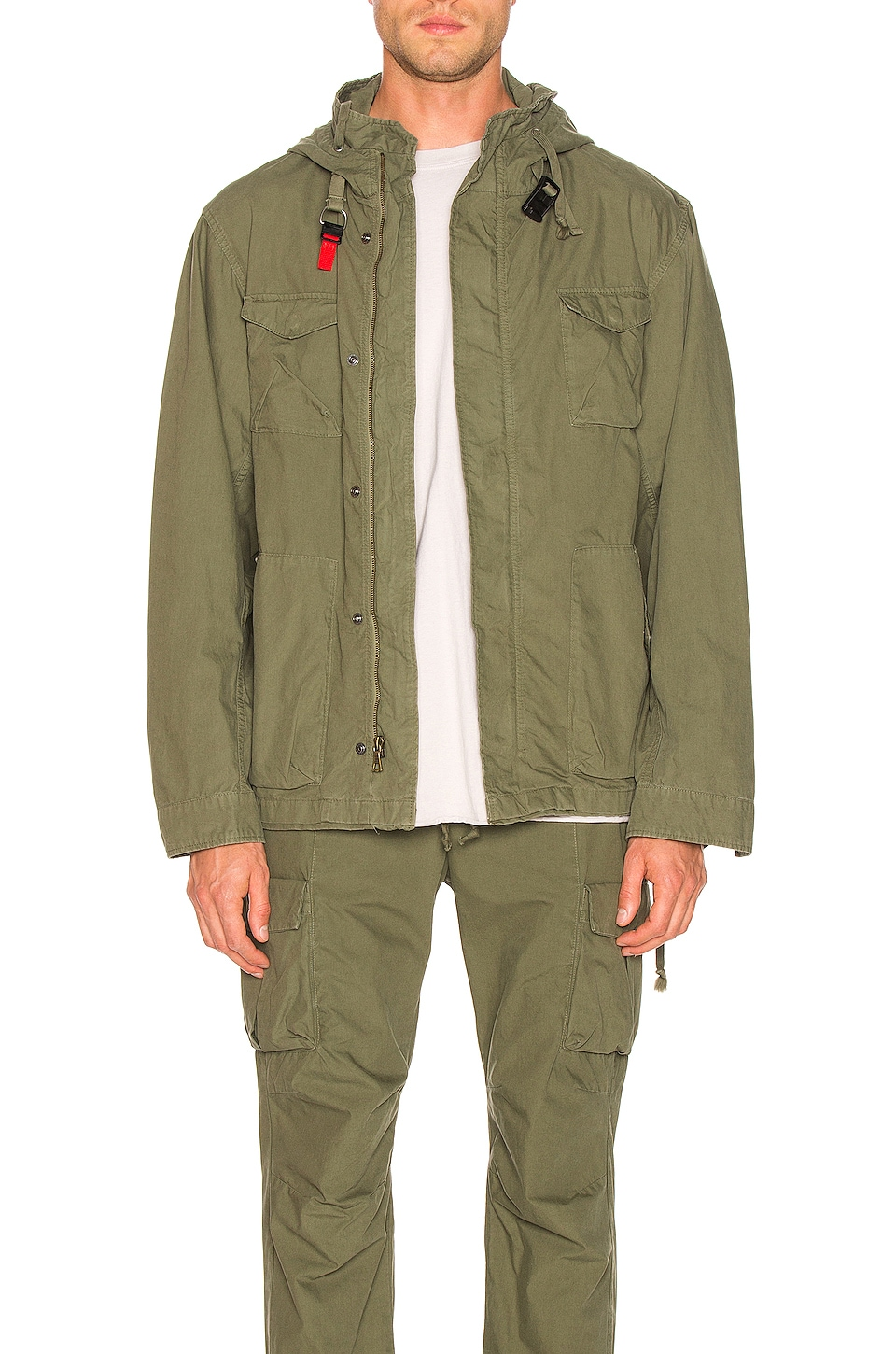 JOHN ELLIOTT Military Zip Field Jacket in Olive