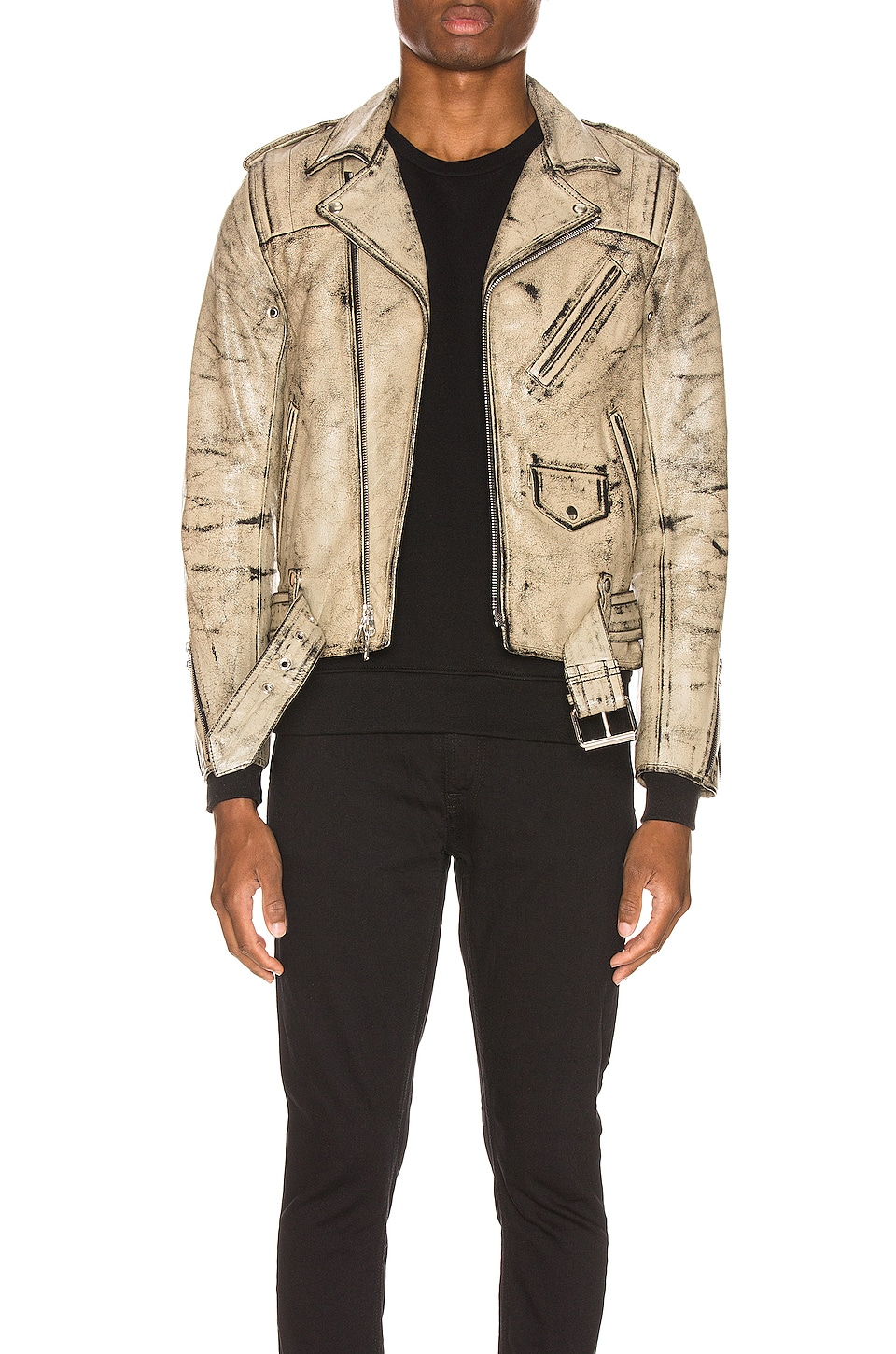 JOHN ELLIOTT x Blackmeans Rider's Jacket in Black & Ivory Paint
