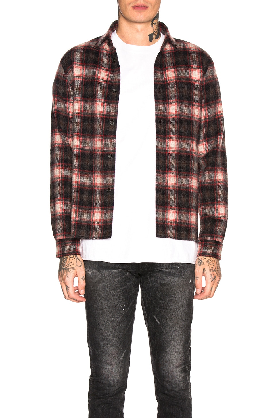 JOHN ELLIOTT Wool Flannel Shirt in Red & Black