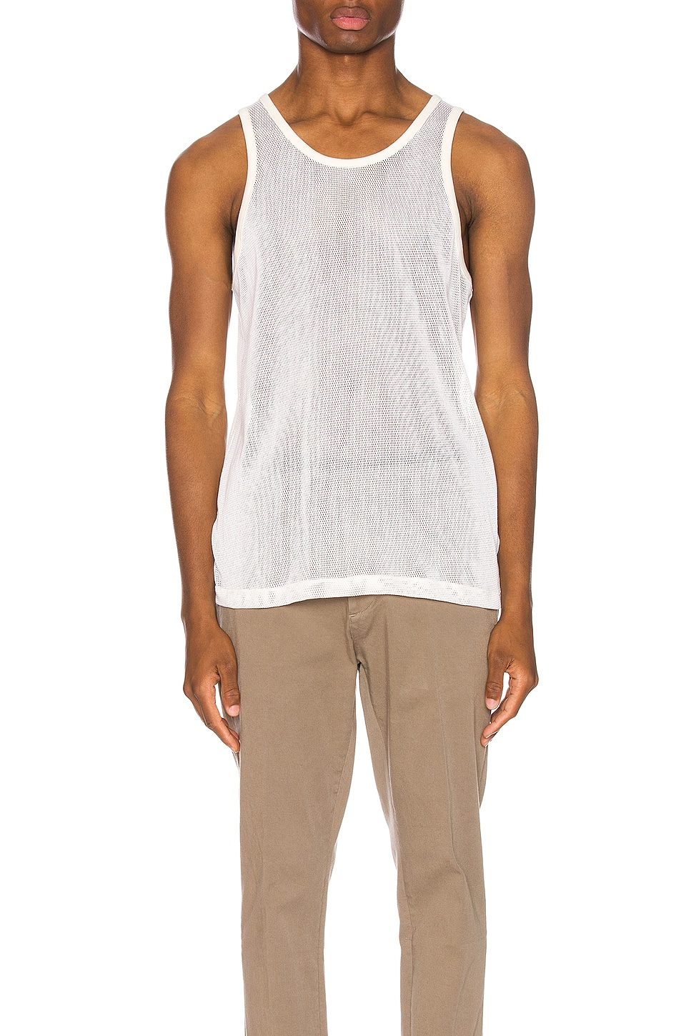JOHN ELLIOTT Cotton Mesh Tank in Natural