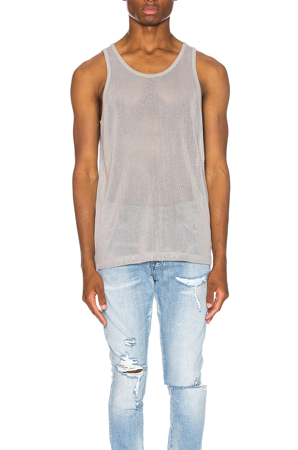JOHN ELLIOTT Cotton Mesh Tank in Plaster