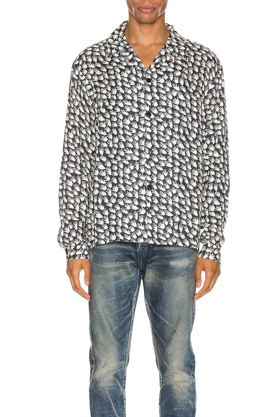 JOHN ELLIOTT Smoking Shirt en Cadet & Ivory