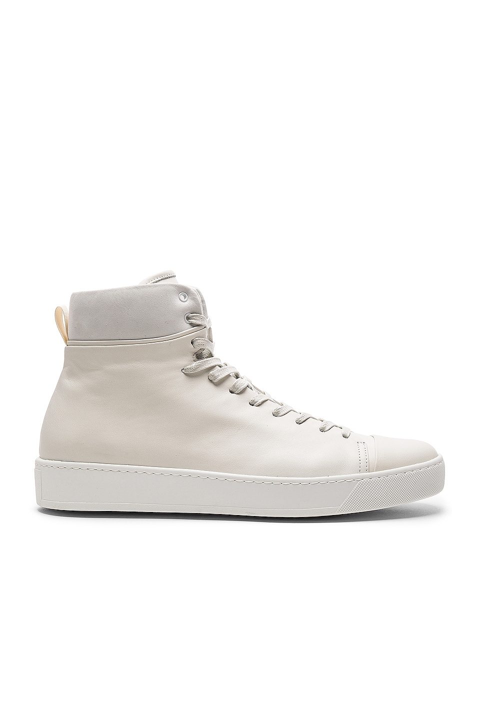 JOHN ELLIOTT Leather High Top Sneakers in White