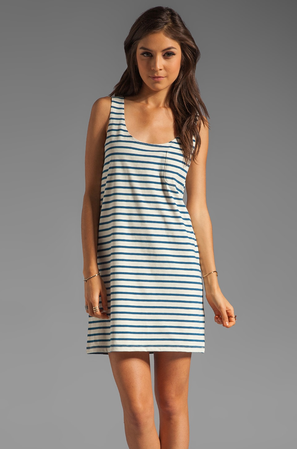 Joie Dawna Striped Dress in Porcelain/Dark Navy