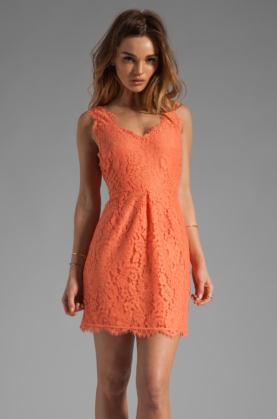 Joie Rori Lace Dress in Hot Coral