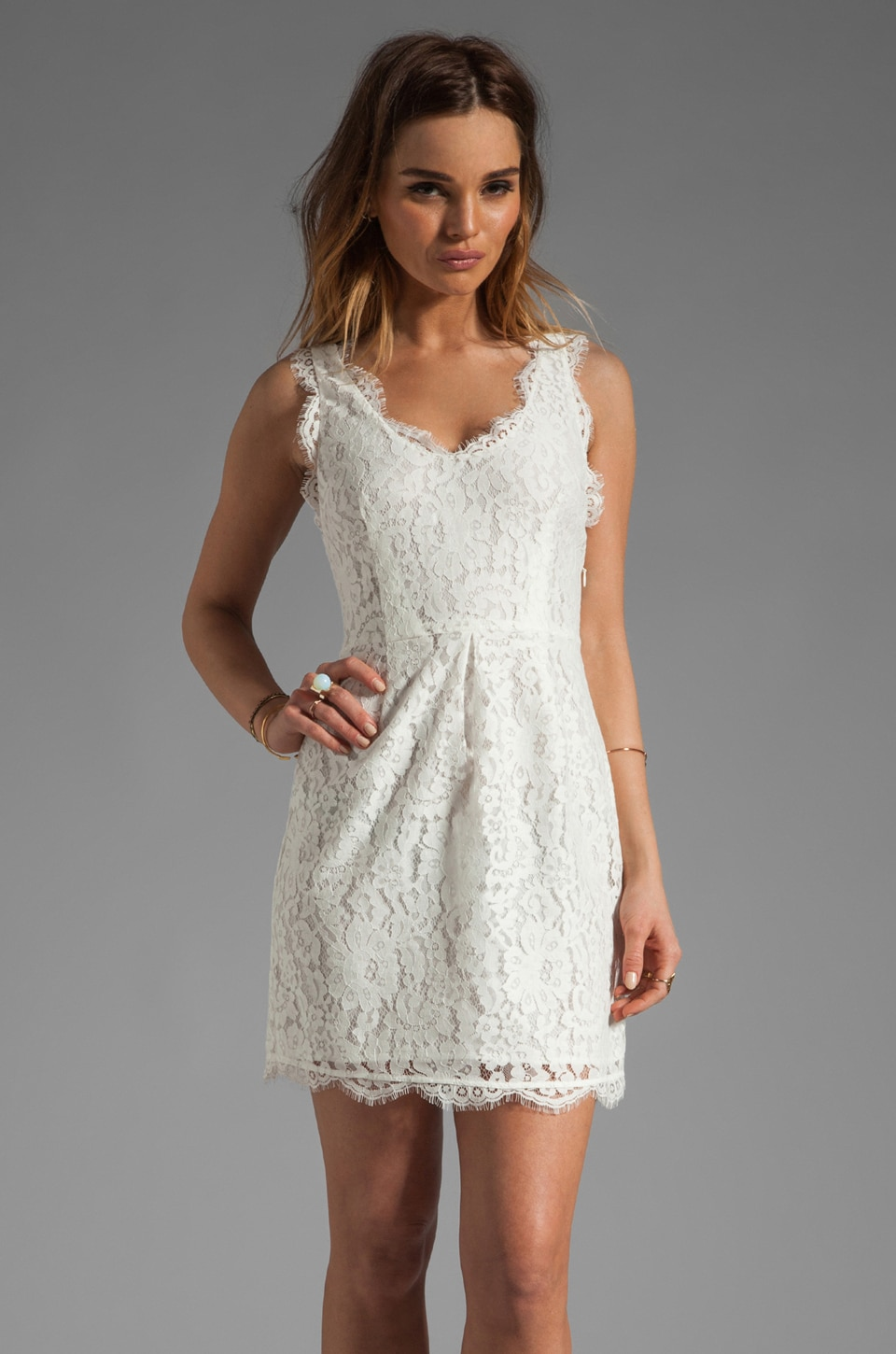 Joie Rori Lace Dress in Porcelain