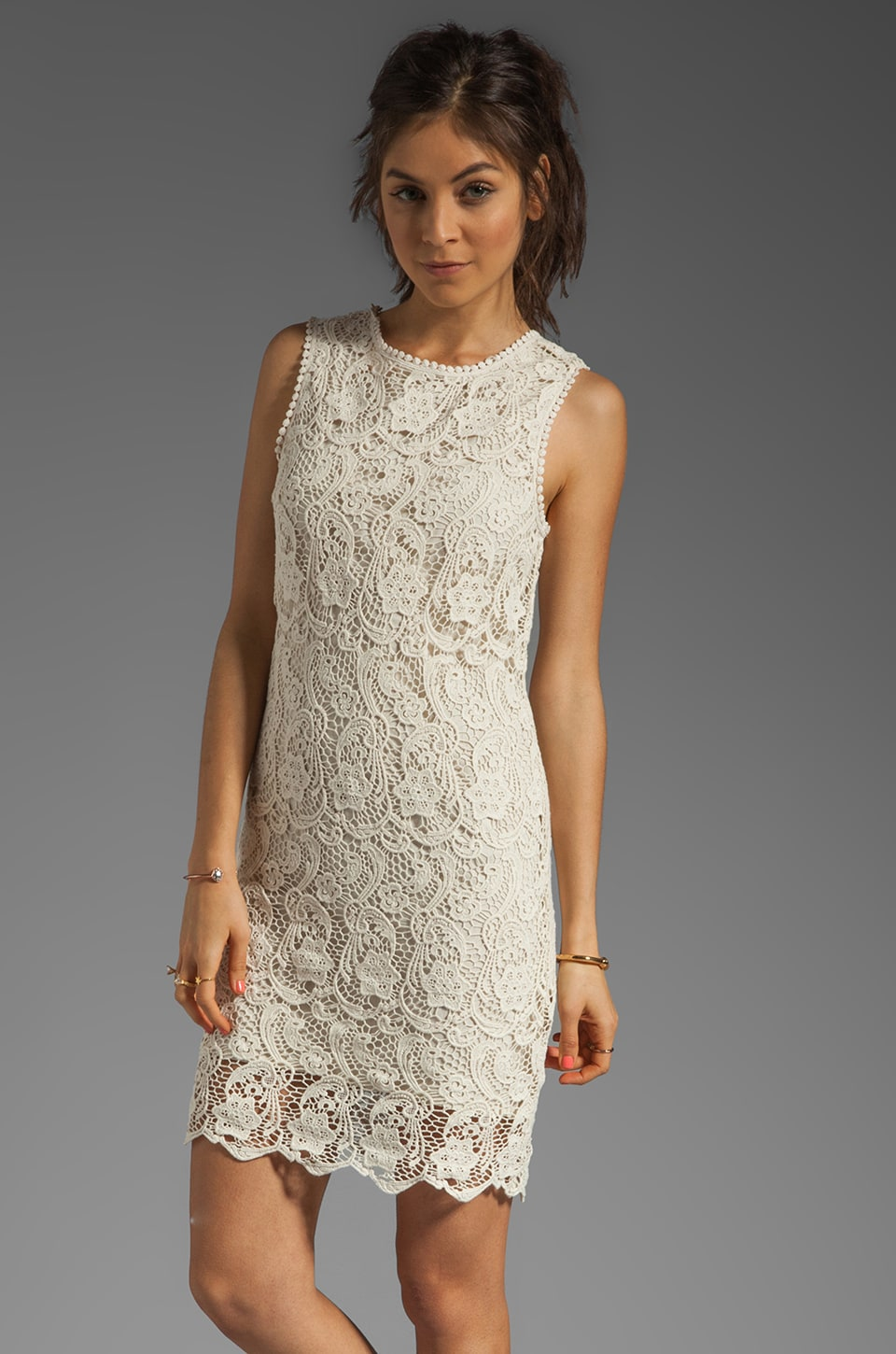 Joie Vionne Crochet Lace Dress in Off White