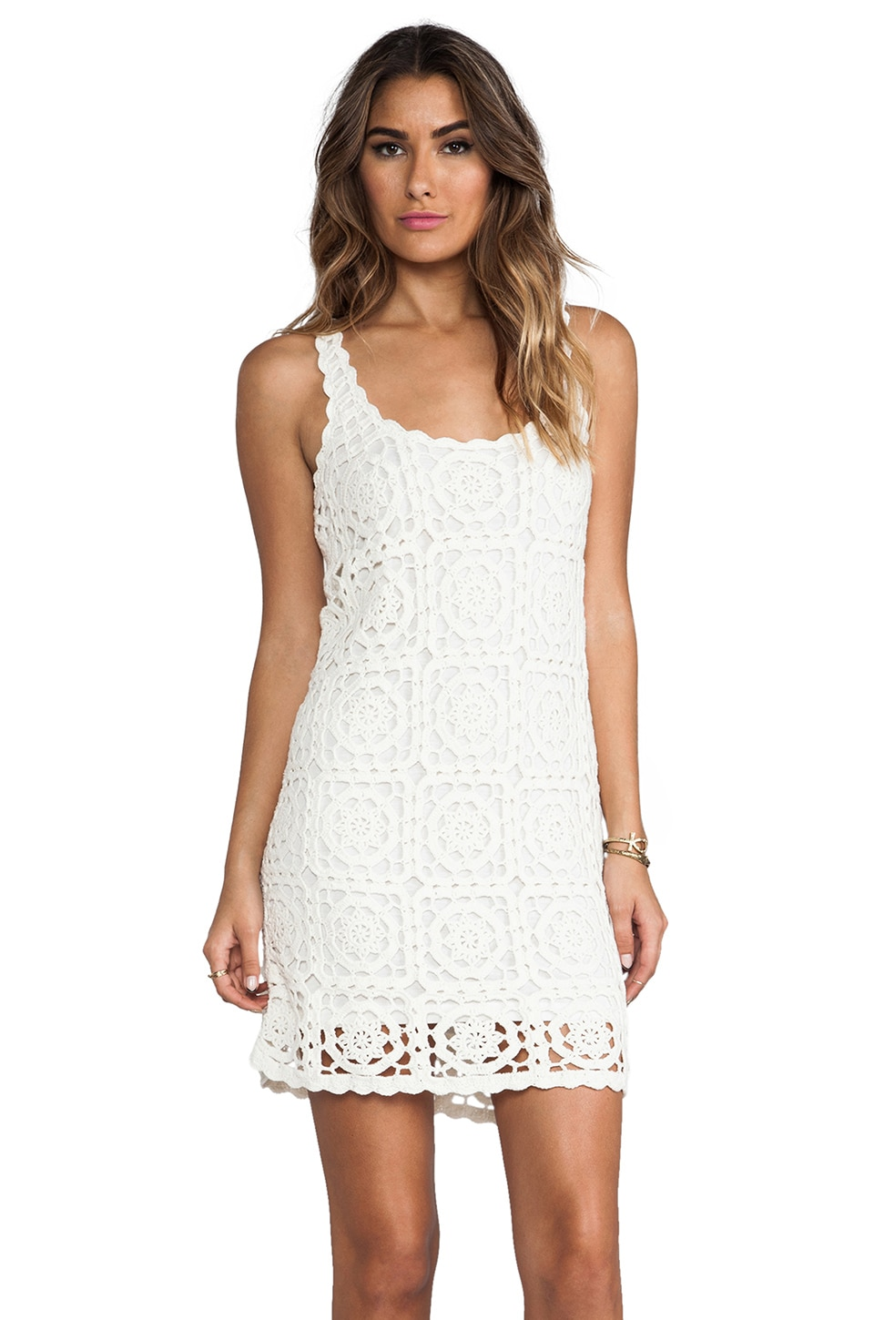 Joie Elida Crochet Dress in Porcelain