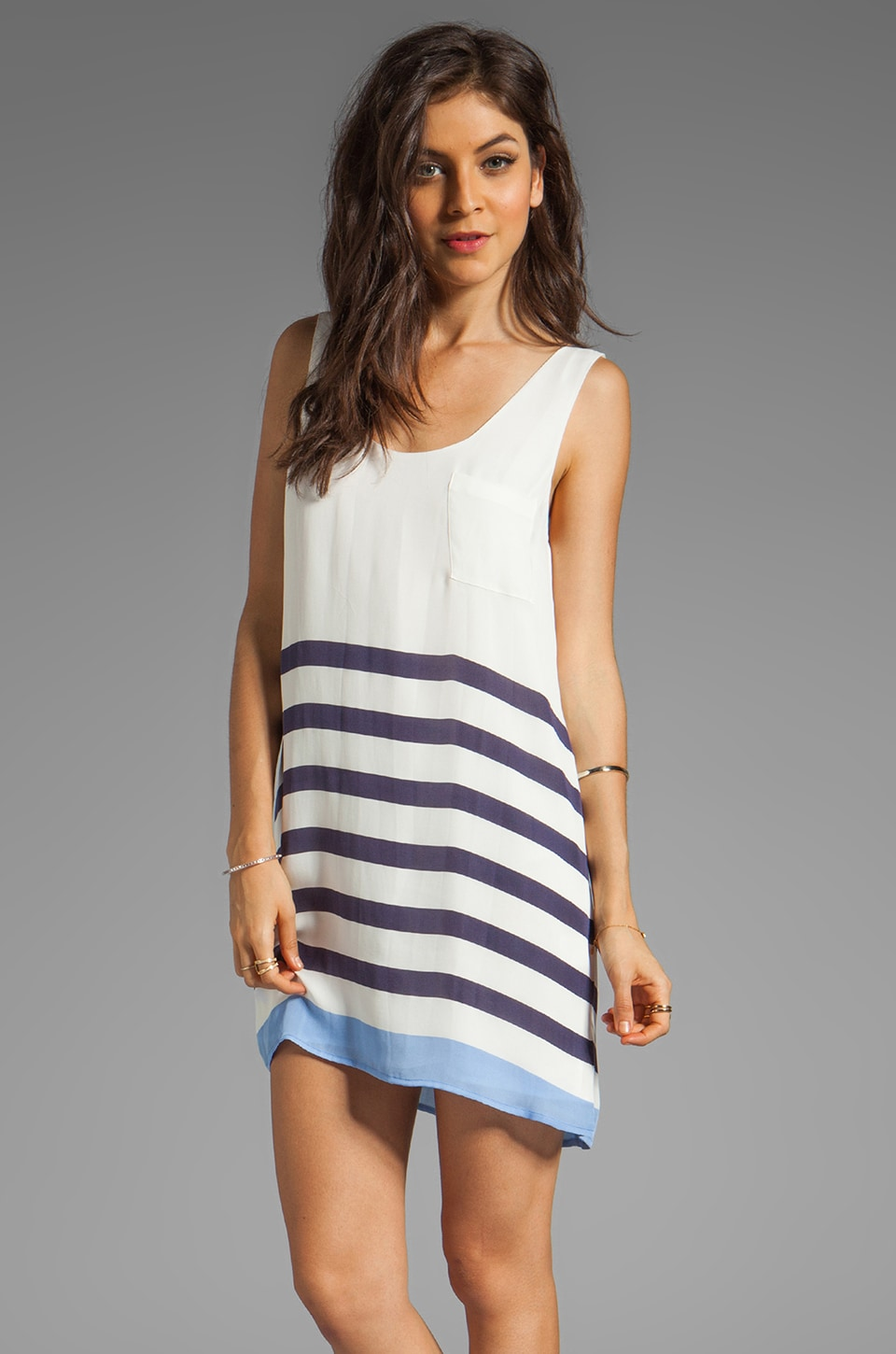 Joie Dawna Stripe Print Dress in Blue Violet