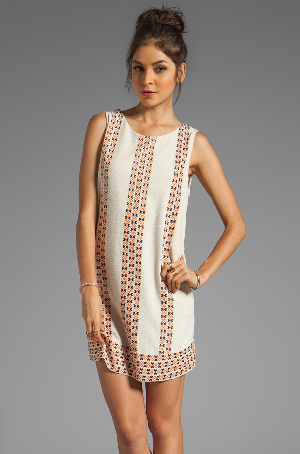 Joie Lawder Native Stripe Dress in Off-White/Spicy Orange
