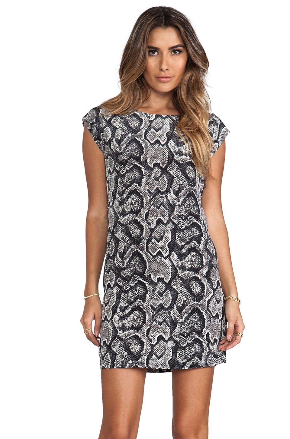Joie Snake Skin Printed Savory Weaver Dress in Caviar
