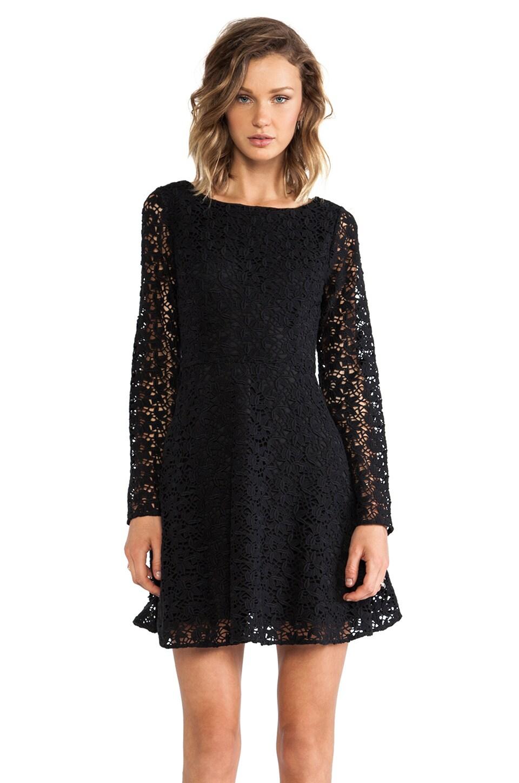 Joie Heavy Cotton Lace Palmira Dress in Caviar