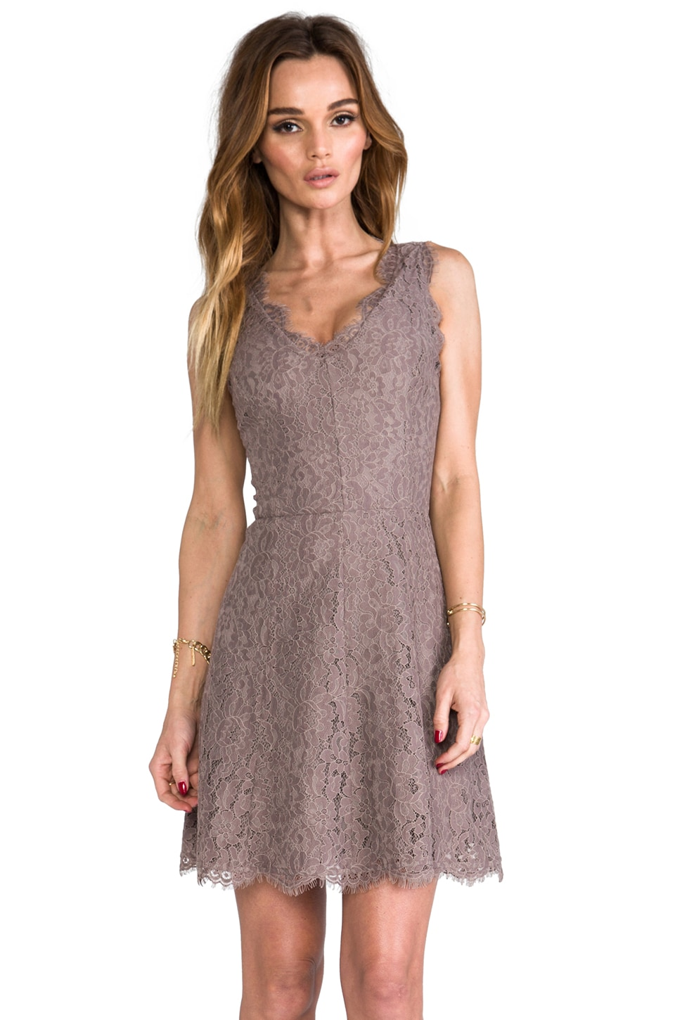 Joie Allover Lace Nikolina B Dress in Mink