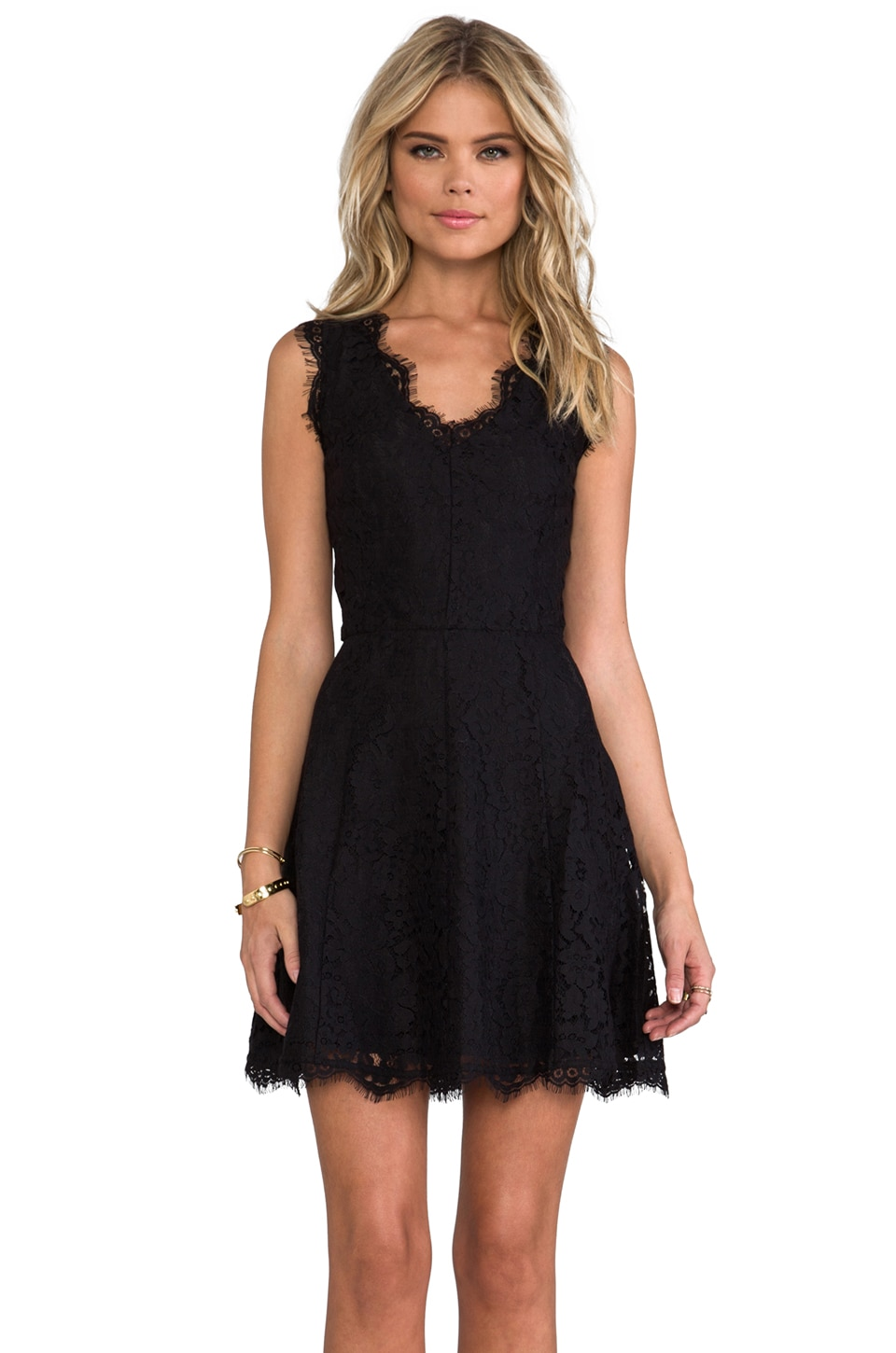 Joie Allover Lace Nikolina B Dress in Caviar