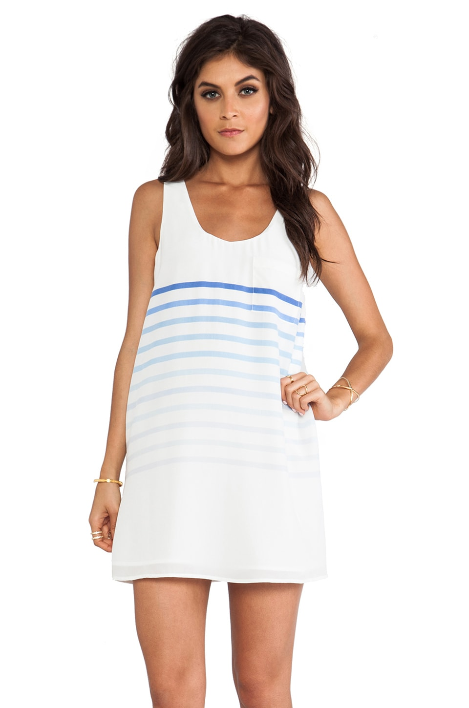 Joie Dawna B Placed Gradient Stripe Dress in Dusty Chambray