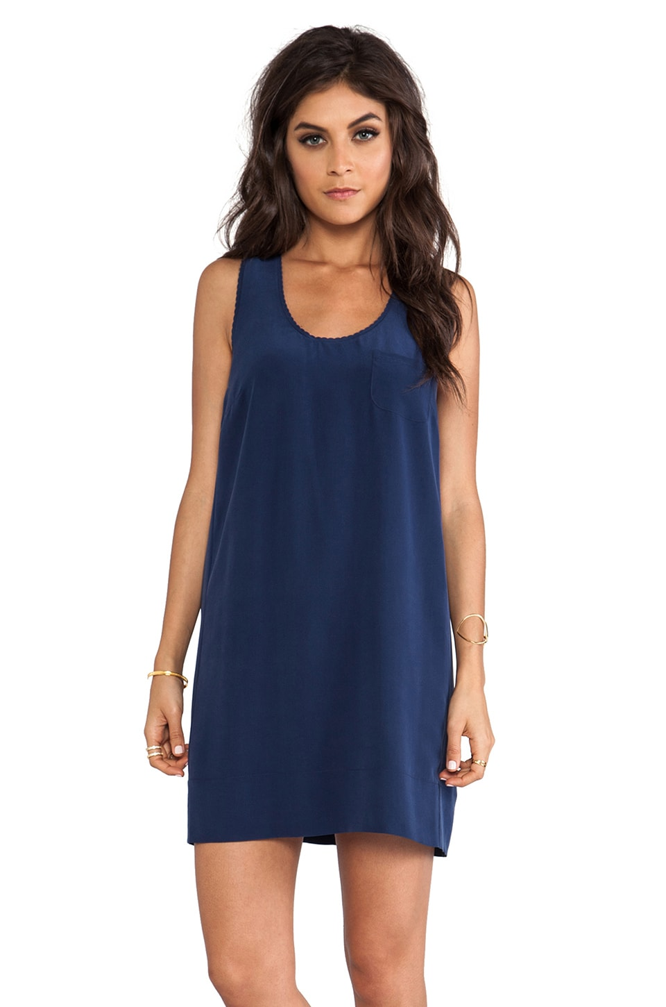 Joie Peri C Scalloped Edge Dress in Dark Navy