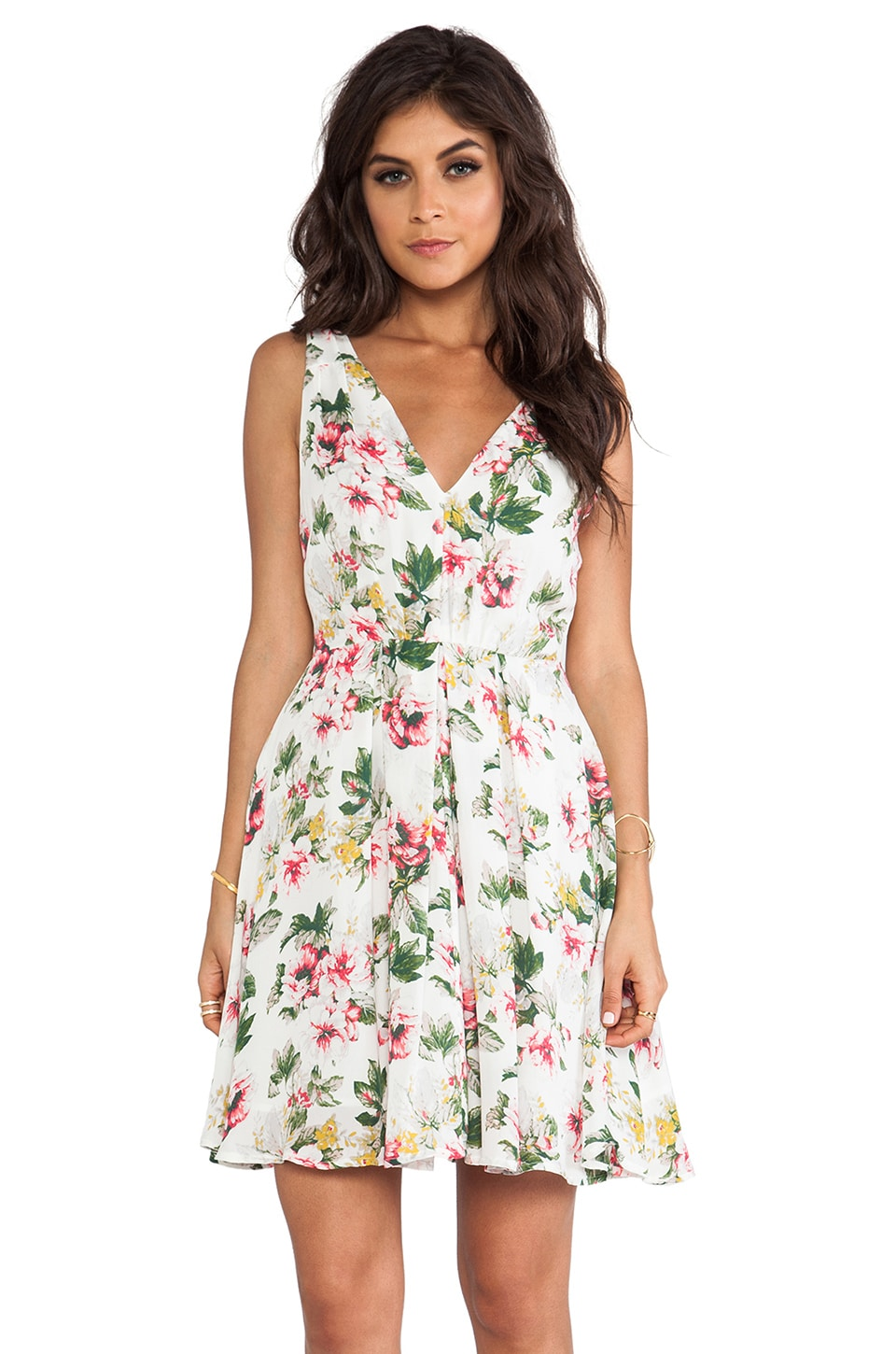 Joie Haliah Cabbage Rose Dress in Porcelain