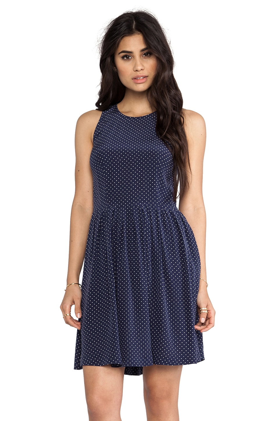 Joie Bernadine Polka Dot Dress in Dark Navy