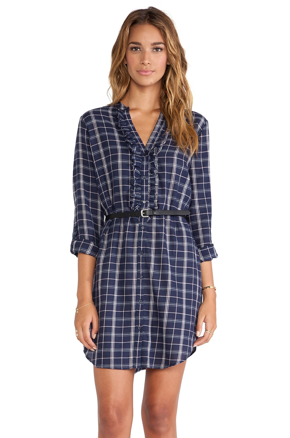 Joie Jessalyn Plaid Dress in Dark Navy