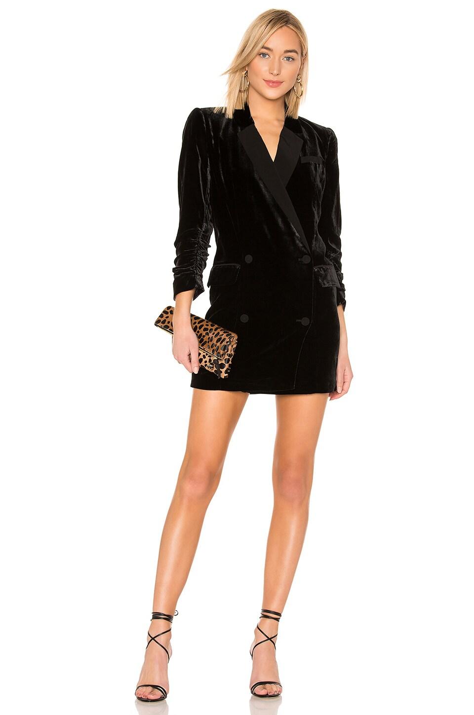 Albertyne Double-Breasted Velvet Tuxedo Dress in Black