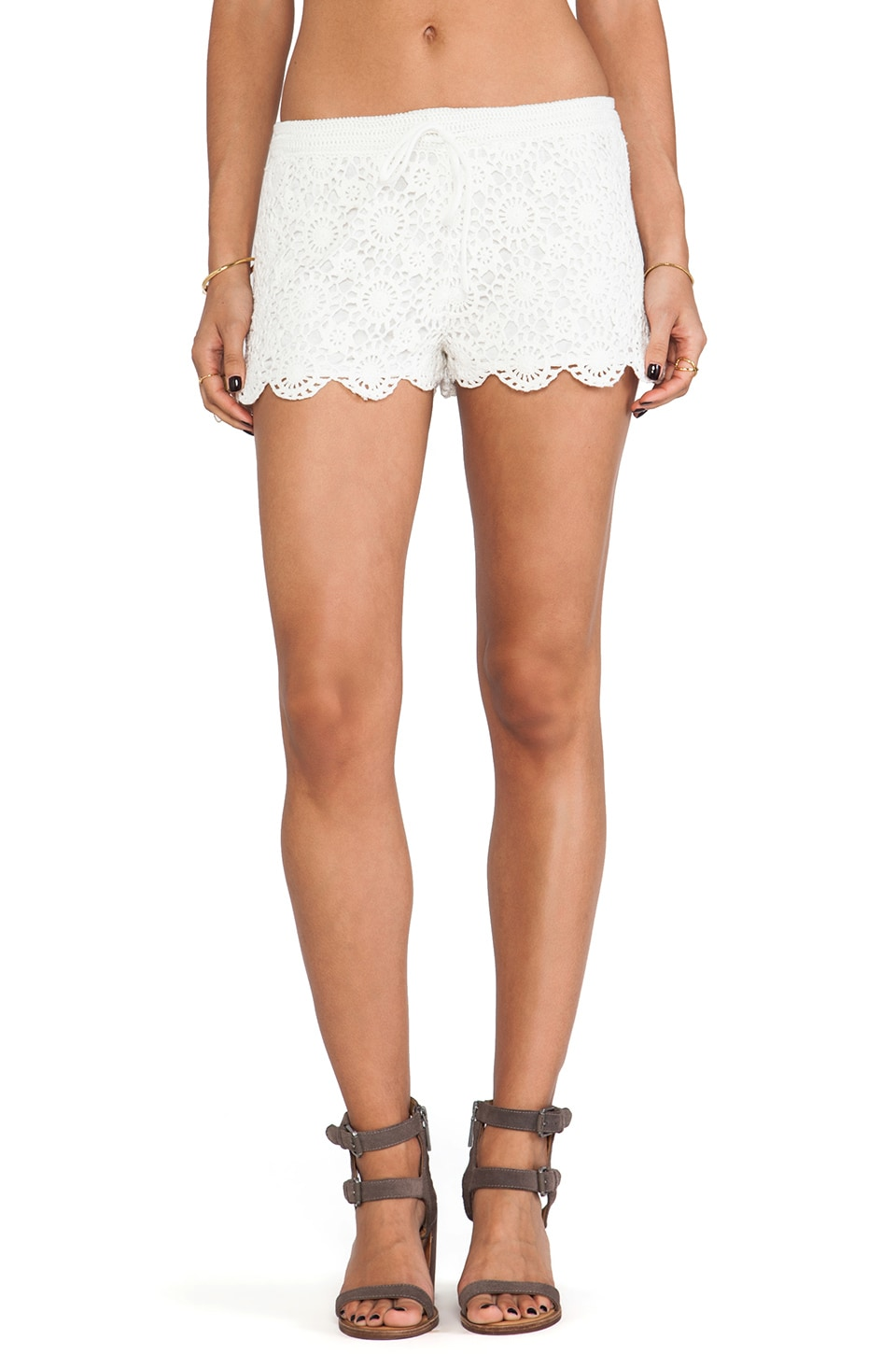 Joie Maylie Crocheted Shorts in Porcelain