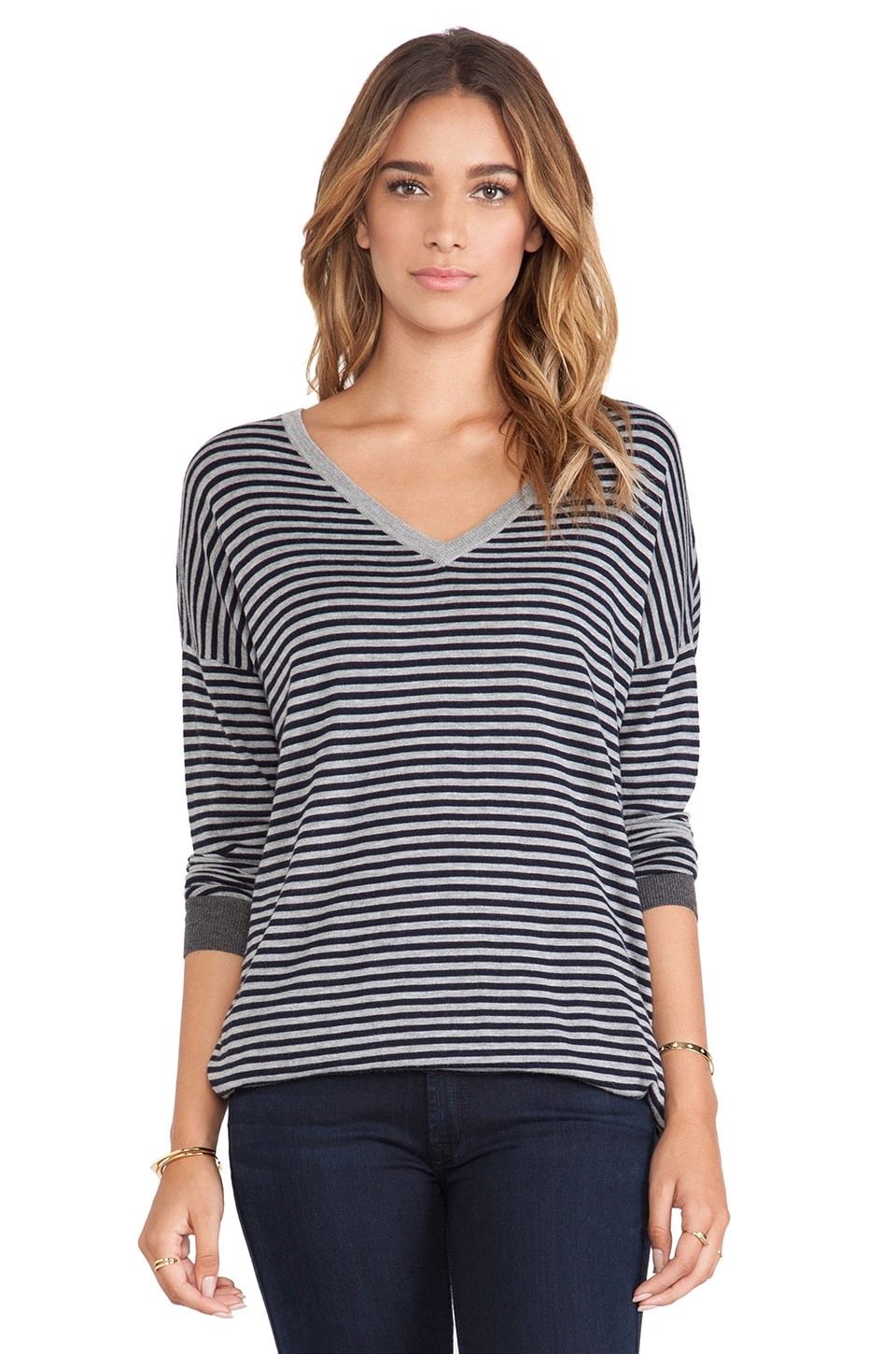 Joie Talida V Neck Sweater in Midnight Blue & Heather Grey