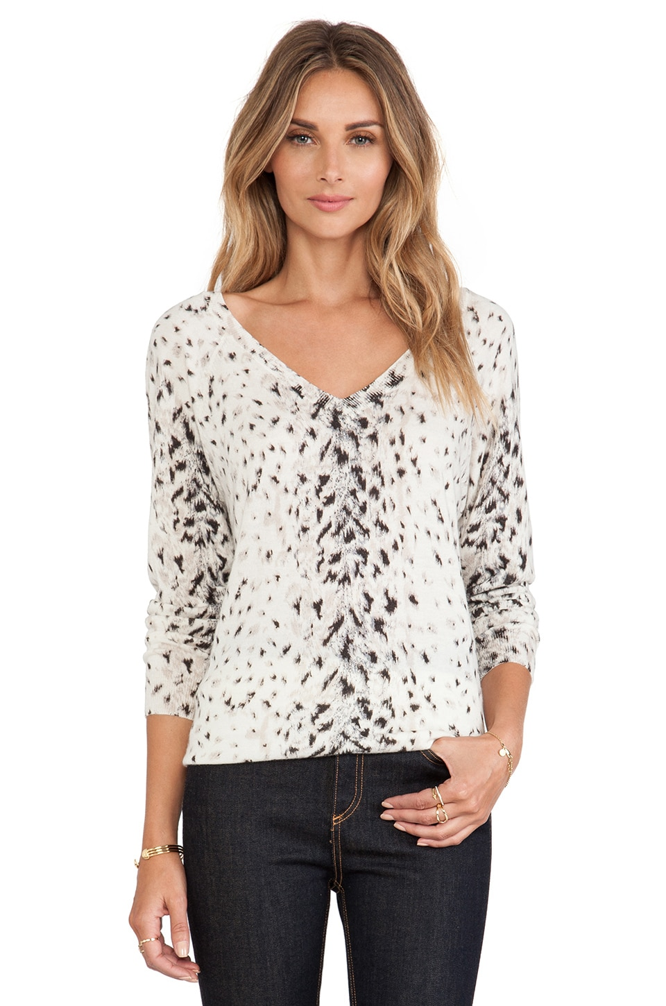 Joie Brooklyn Animal Print Sweater in Porcelain