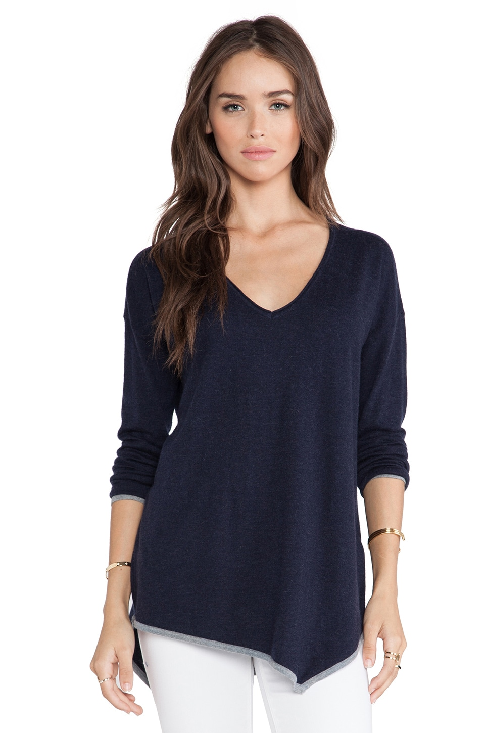 Joie Niami Sweater in Midnight Blue & Heather Grey