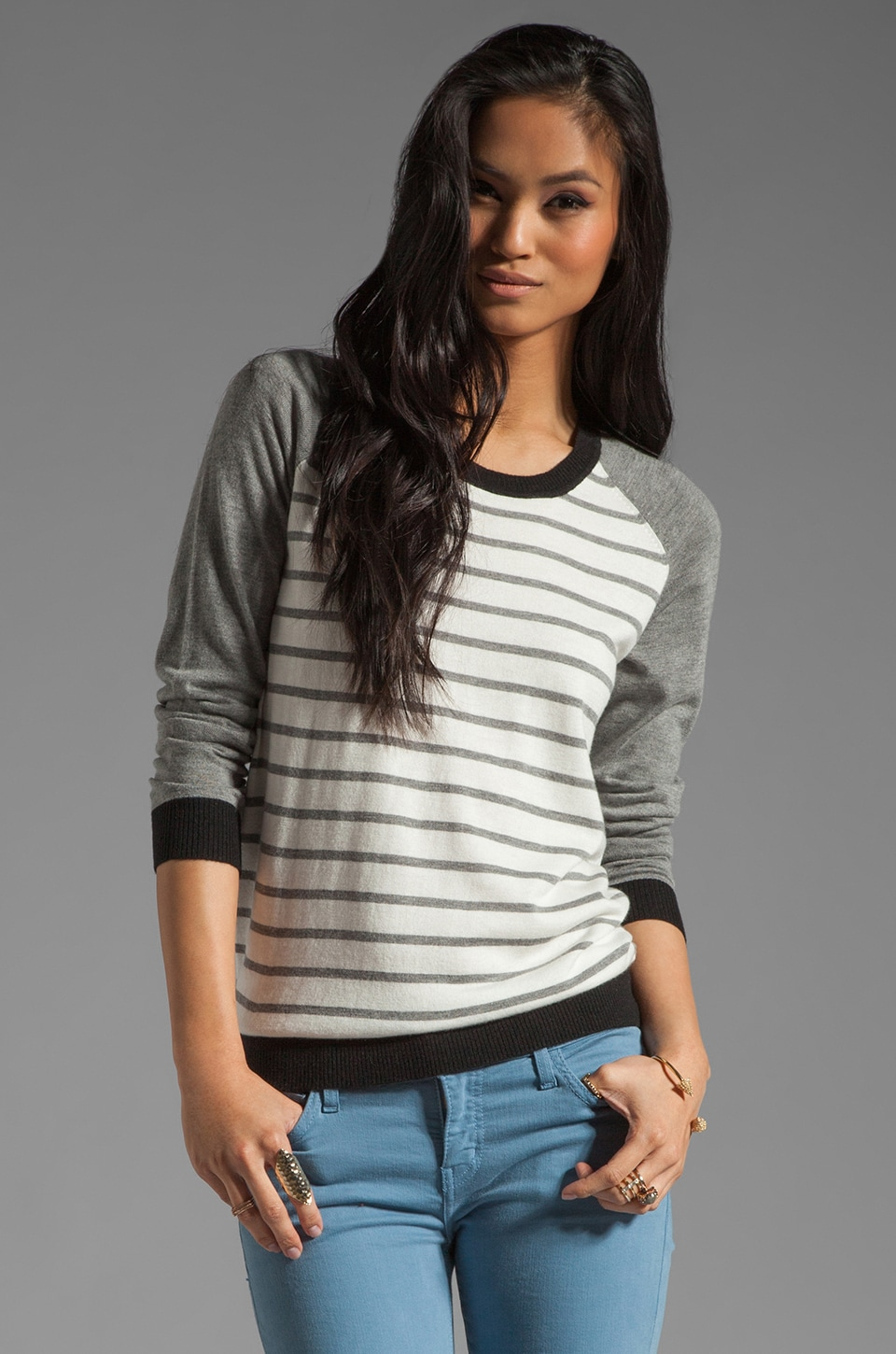Joie Jabel Color Block Stripe Sweater in Heather Grey