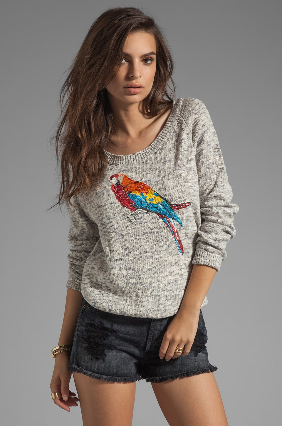 Joie Durene Place Embroidery Sweater in Vintage Heather Grey
