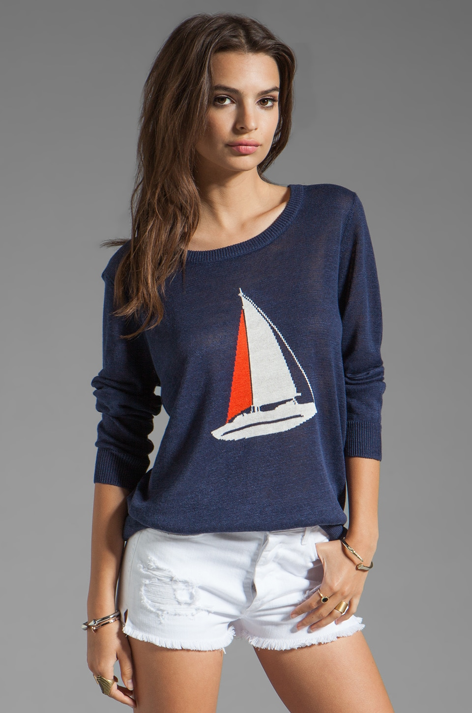 Joie Evaline Nautical Intarsia Sweater in Blue Violet
