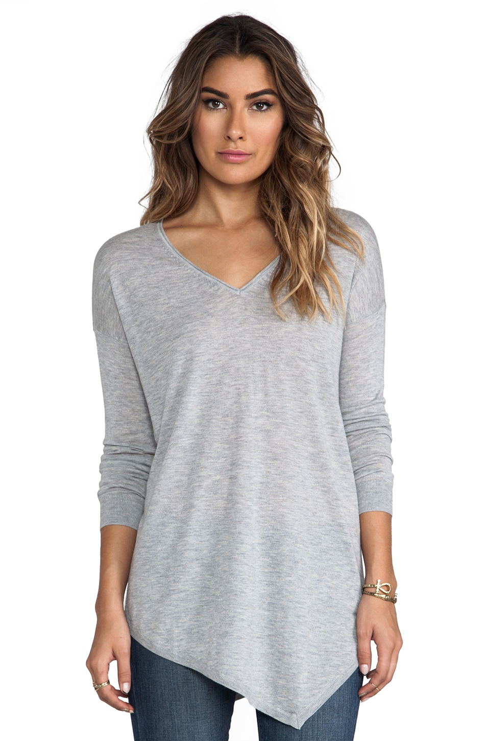 Joie Solid Wool Silk Armelia Sweater in Light Heather Grey