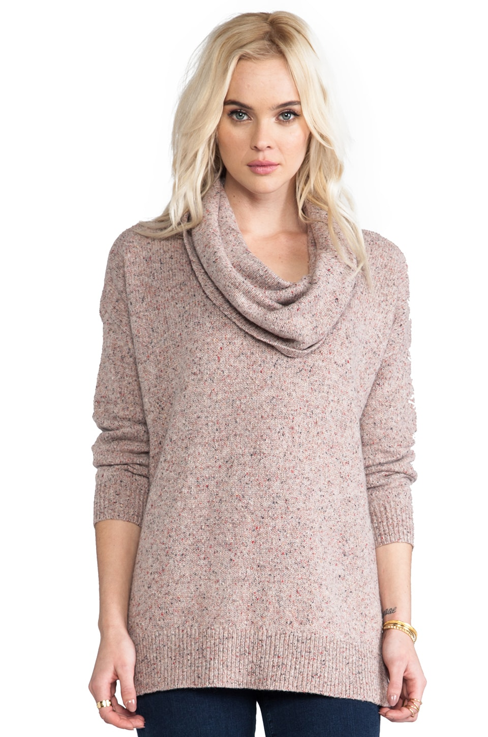 Joie Multi Color Marled Knit Yasemin Sweater in Light Heather Oatmeal