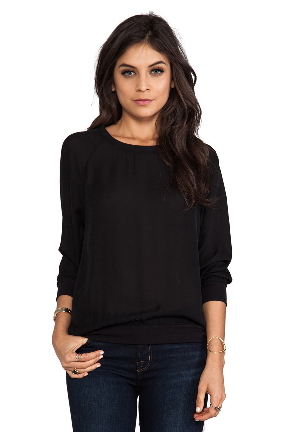 Joie Matte Silk Medley Sweater in Caviar