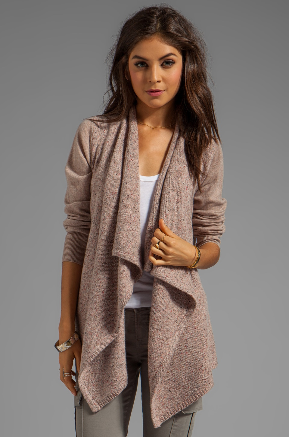 Joie Solid With Marled Mix Starley Cardigan in Light Heather Oatmeal