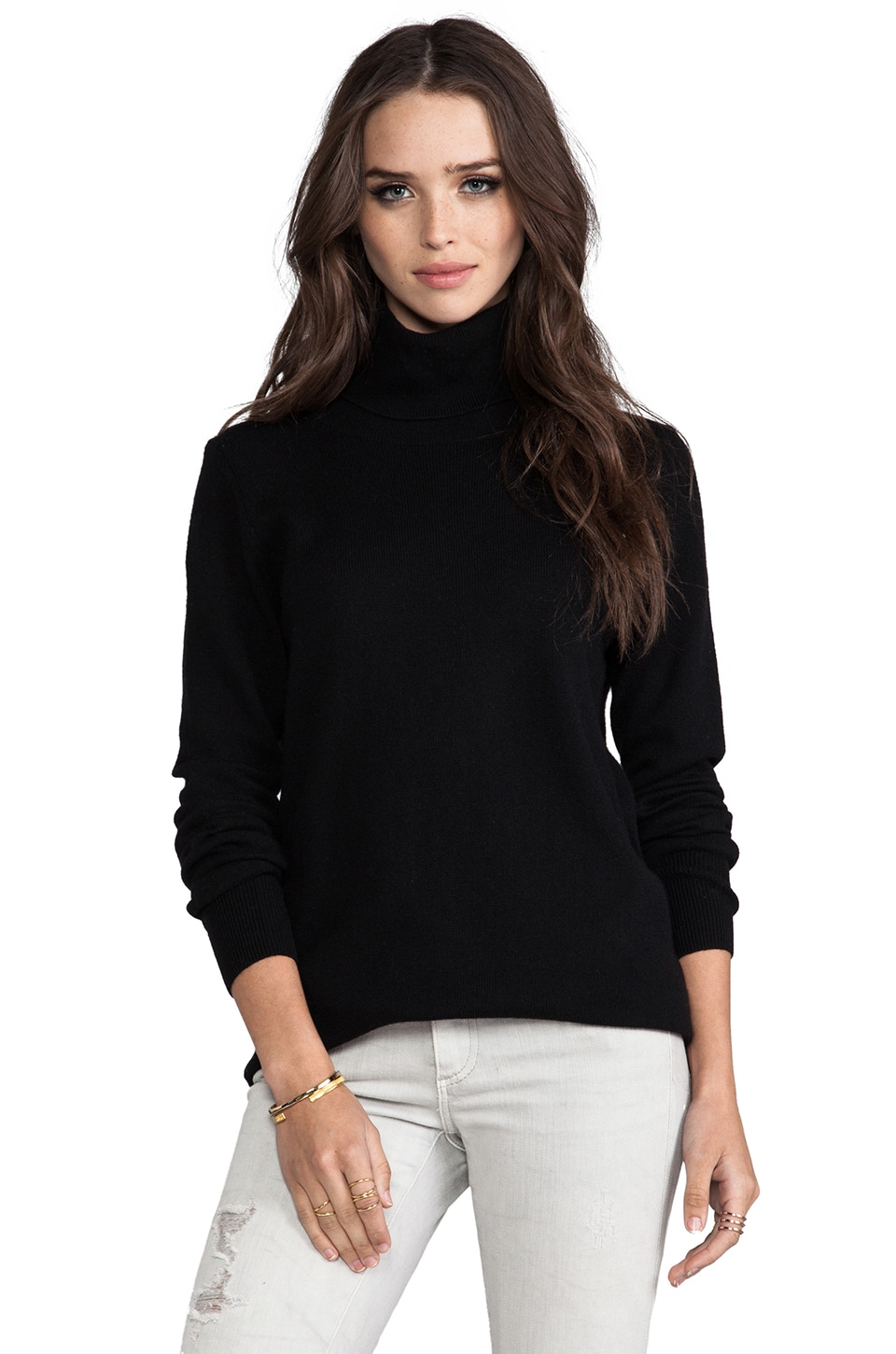 Joie Solid Wool Cashmere Maryse Sweater in Caviar