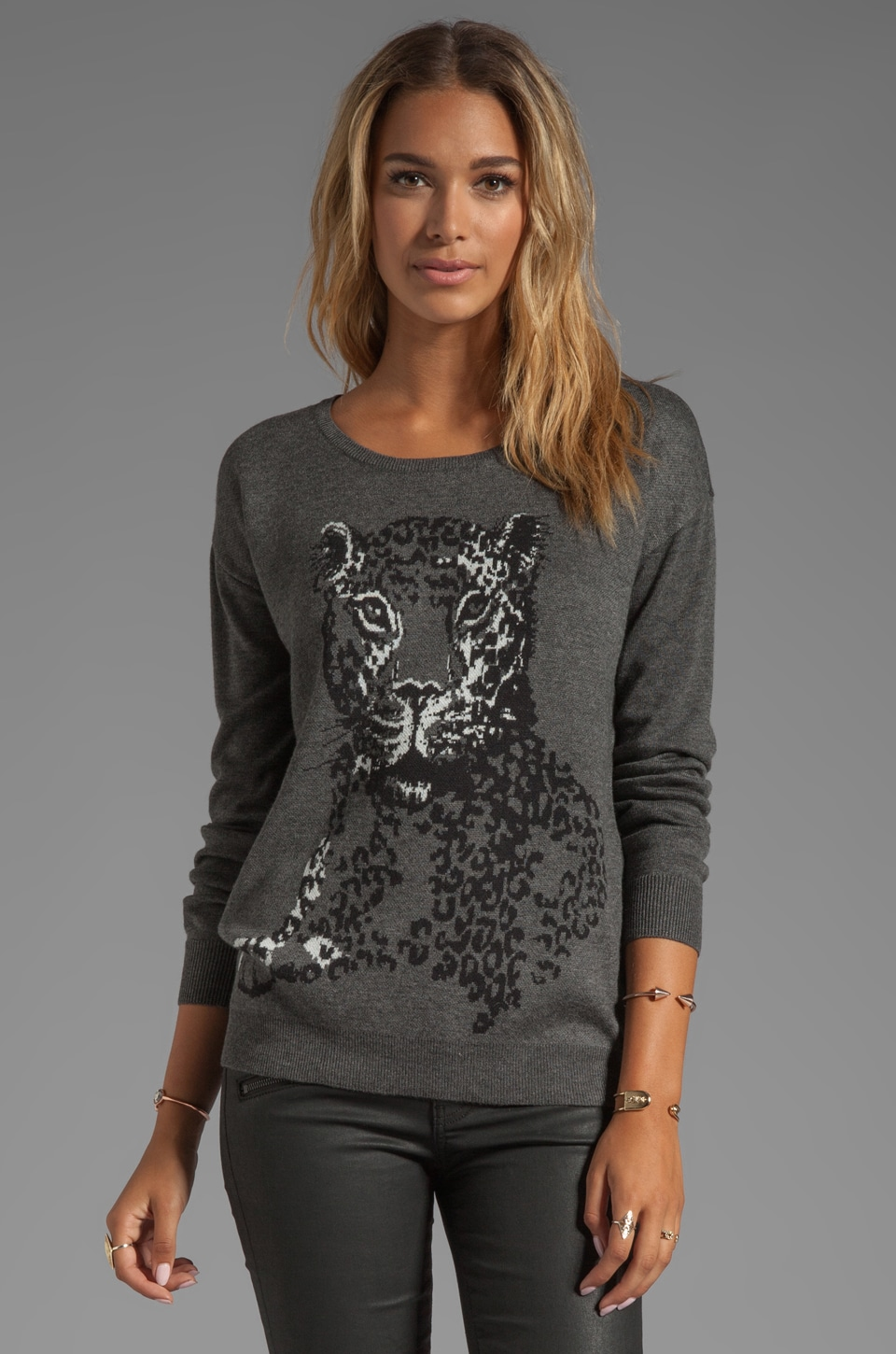 Joie Animal Jacquard Shirlene Sweater in Dark Heather Grey
