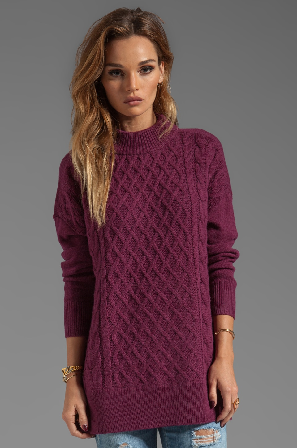 Joie Classic Cable Bryanne Sweater in Shiraz