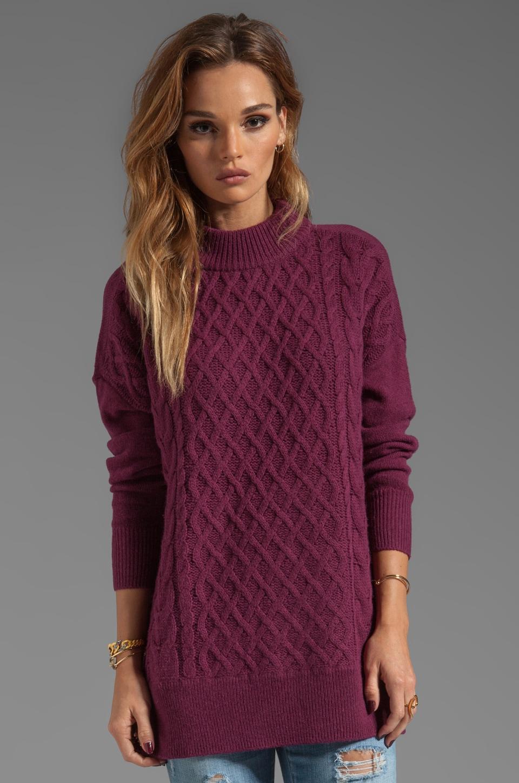 Joie Classic Cable Bryanne Sweater en Rouge Foncé