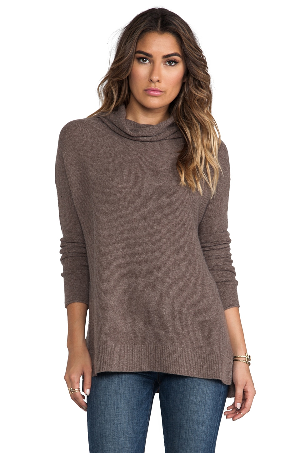 Joie Reverse Pearl Stitch Cashmere Sweater in Light Heather Smoky Topaz